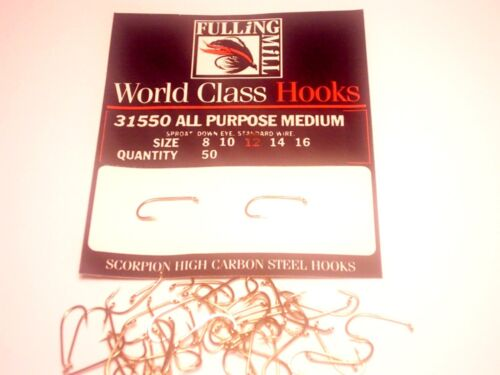 FULLINGMILL ALL PURPOSE MEDIUM WEIGHT TROUT FLY HOOKS FROM FLYMAKERS