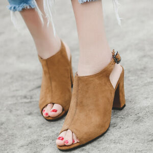 Women-Sandals-Suede-Ankle-Strap-Stiletto-High-Heel-Peep-Toe-Party-Boots-Shoes
