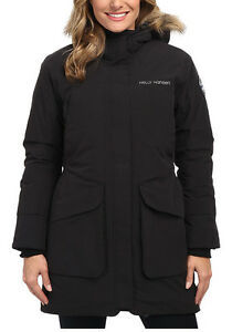 select for genuine factory authentic details for Details about Helly Hansen Svalbard H2Flow Parka Womens Winter Snow Down  Coat Black Medium XL