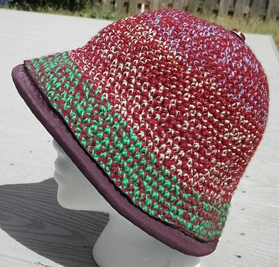 Sharp Crocheted Cloche Hat with a Purple Spandex Brim - Handmade by Michaela