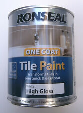 Item 3 Ronseal One Coat High Gloss White Tile Paint 750ml Transforms Tiles Easily