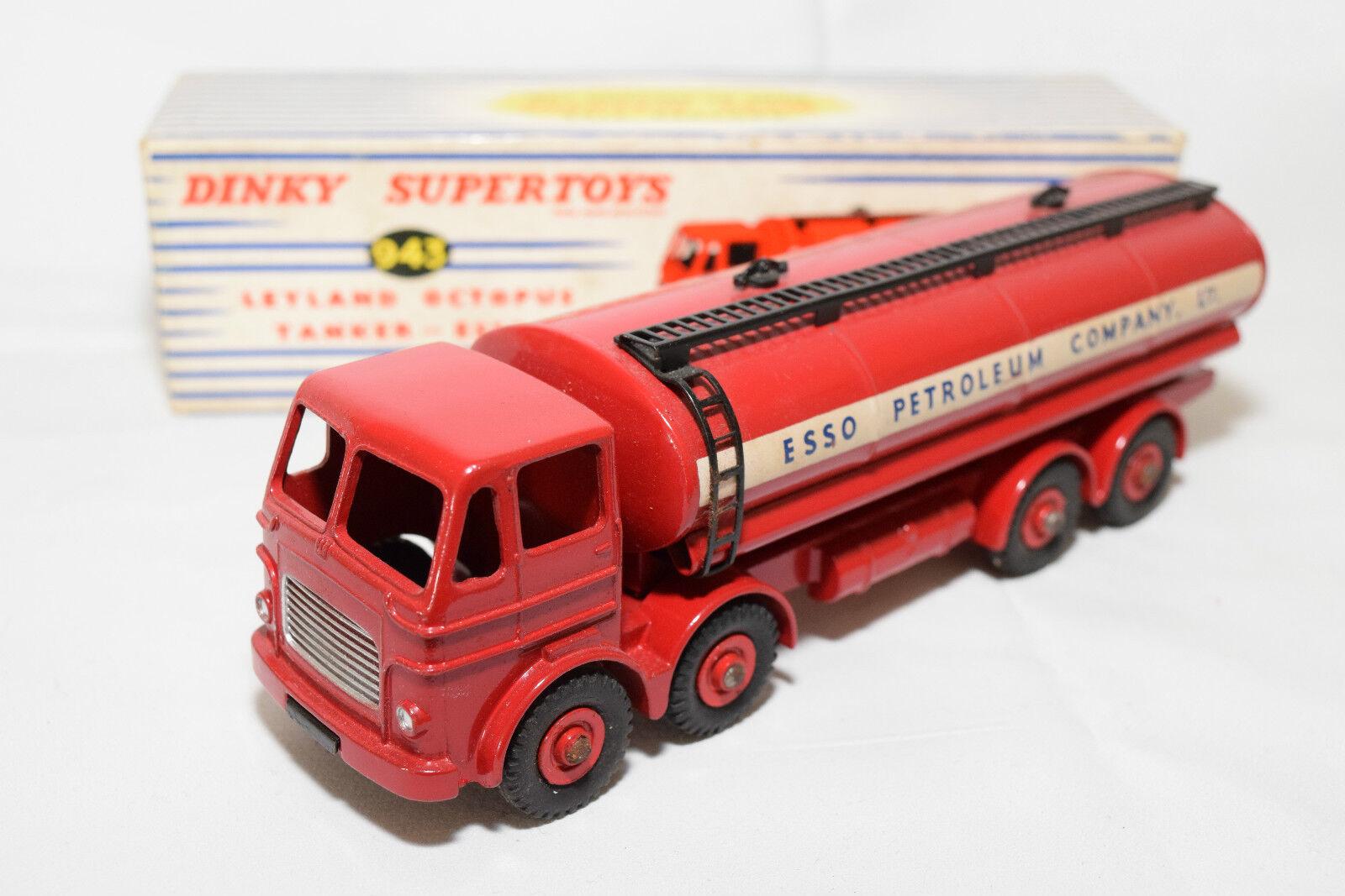 P Dinky Toys 943 leyland Octopus petrolero Truck esso Mint Boxed rare rara vez raro