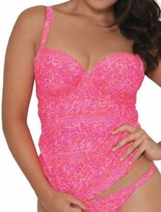 5367a6921edb0 BNWT CURVY KATE DAZE BALCONY TANKINI TOP SIZE 30DD BRIGHT PINKS RRP ...