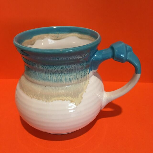 Roscher Stoneware Belly Mug Knotted Handle Blue Brown Tan