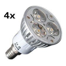 4X E14 3W 3 LED Warm White Spotlight Energy Saving Spot Light Lamp Bulb 230V B