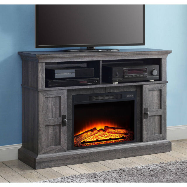 Electric Fireplace Tv Stand Bluetooth Media Adjustable Shelves