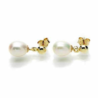 9ct Gold Pearl Drop Earrings 6mm AAA White Oval Cultured Freshwater Pearls