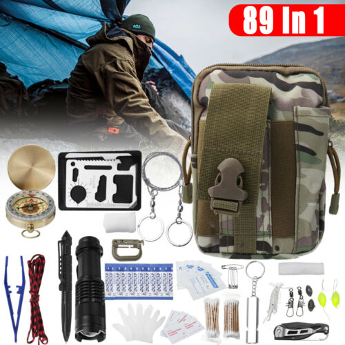 89Pcs//Set SOS Emergency Camping Survival Equipment Kit Outdoor Hiking Gear Tool