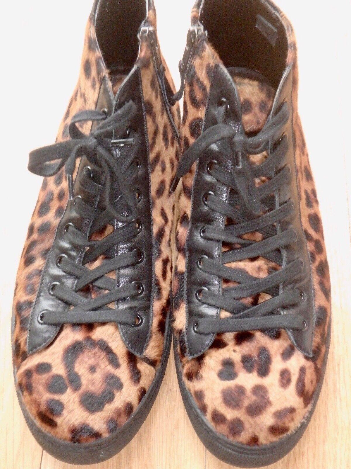 Kardinale Leopard Print   Pony Fur High Top Sneakers - Size 11