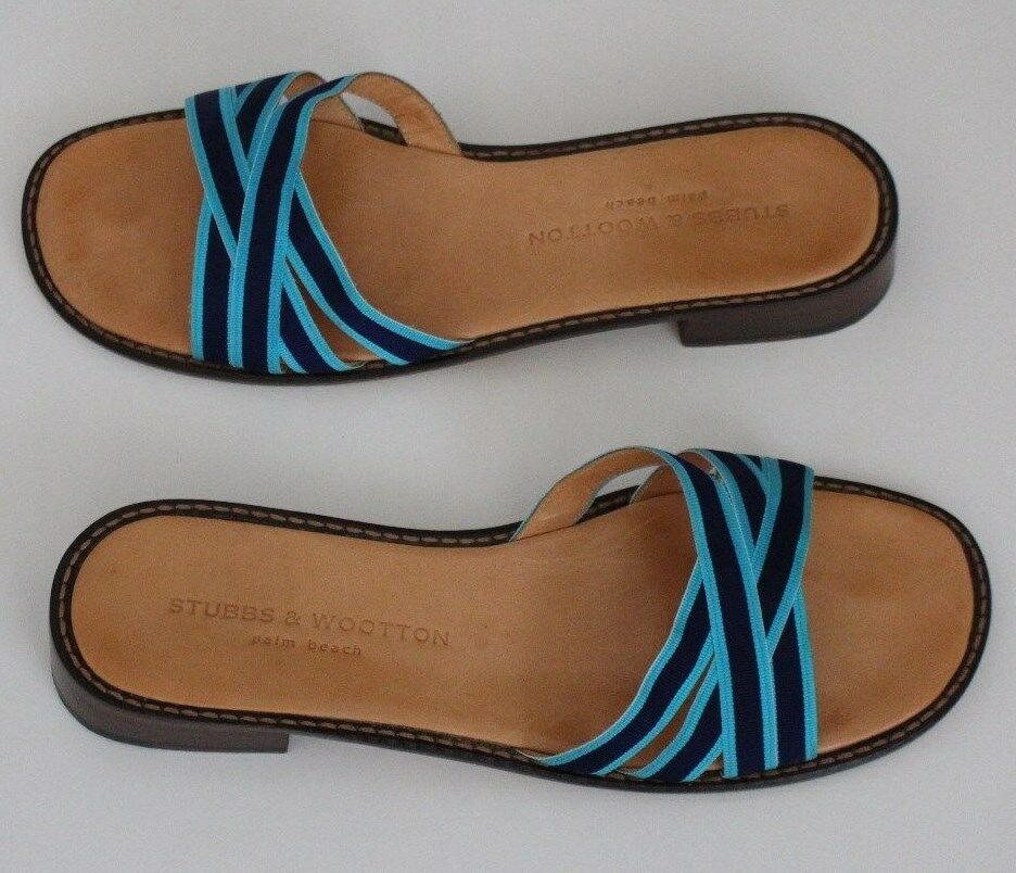 Stubbs & Wootton Palm Beach 9.5 Stripped Grosgrain Flat Leather Slide Sandal IT