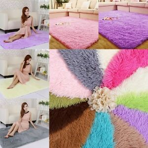 Salle-a-manger-Fluffy-Salon-Shaggy-Zone-Tapis-Soft-Rectangle-Tapis-de-de-sol-DV