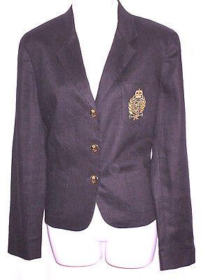 LAUREN RALPH LAUREN Black Linen Blazer Jacket Size 12 Crest Gold Crown Button