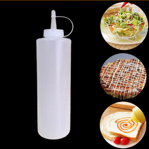 8-24oz Clear Plastic Squeeze Bottle Ketchup Mustard Sauce Condiment Dispenser