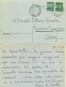 430 - RSI (Repubblica Sociale) - 25 cent Monumenti distrutti su cartolina, 1944 - Italia - 430 - RSI (Repubblica Sociale) - 25 cent Monumenti distrutti su cartolina, 1944 - Italia