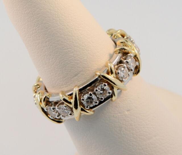 Tiffany Jean Schlumberger Sixteen Diamond Ring Platinum+Gold Sz 5.5 $9,690 w Tax