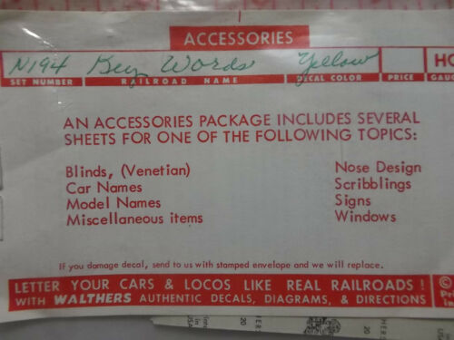 Walthers 1958 Decals HO N-194 Pullman Key Words Yellow NOS