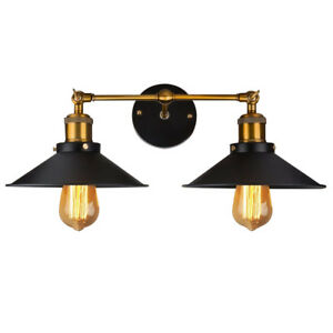 Details About Vintage Loft Iron Double Rustic Sconce Wall Light Lamp Fixtures