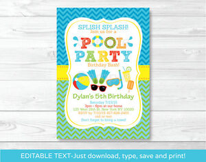 graphic relating to Pool Party Printable named Facts in excess of Boys Pool Celebration Printable Birthday Invitation Editable PDF