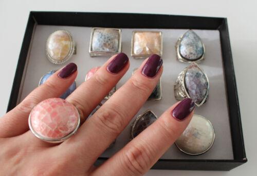 Nuevo bisutería acero inoxidable cóctel anillo madreperla plata multicolor talla 17 18 19 20 #45
