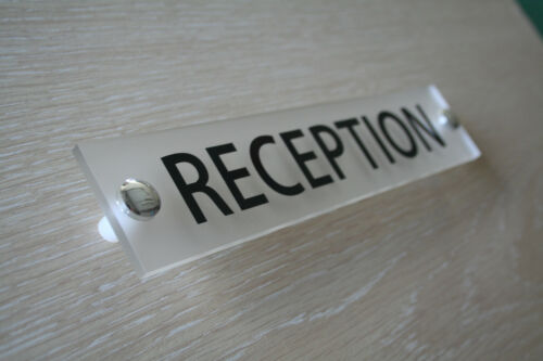 WALL SIGN//PLAQUE QUALITY FROSTED ACRYLIC RECEPTION OFFICE DOOR
