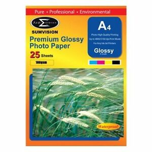 25-Sheets-Pack-Sumvision-A4-Premium-White-Glossy-180gsm-Inkjet-Print-Photo-Paper