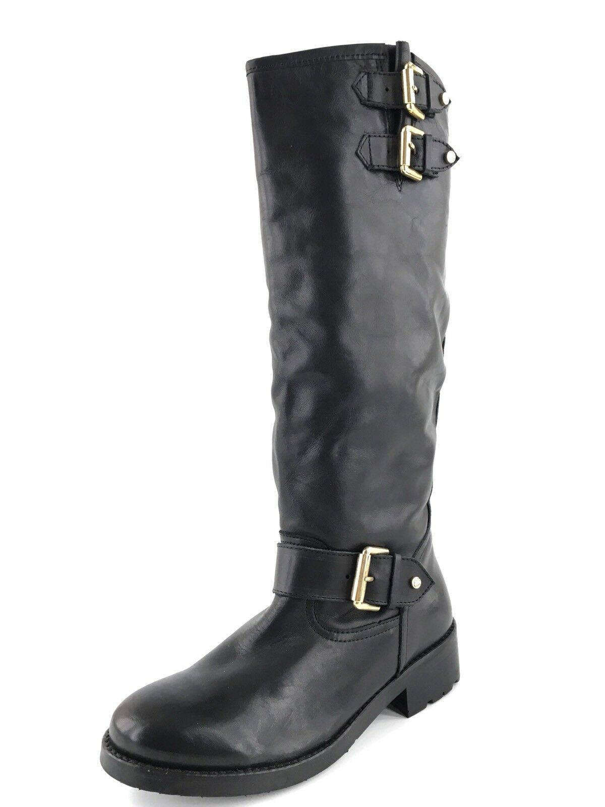 New Kurt Geiger London Black Leather Knee High Boots Women's Size 38 M*