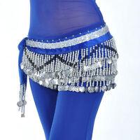 Belly Dance 258PCS Silver Coins Hip Scarf Tassel Belt Skirt Velvet Waist Chain