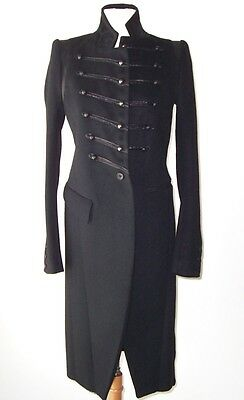 IF SIX WAS NINE Black Wool Leather Military Coat  S