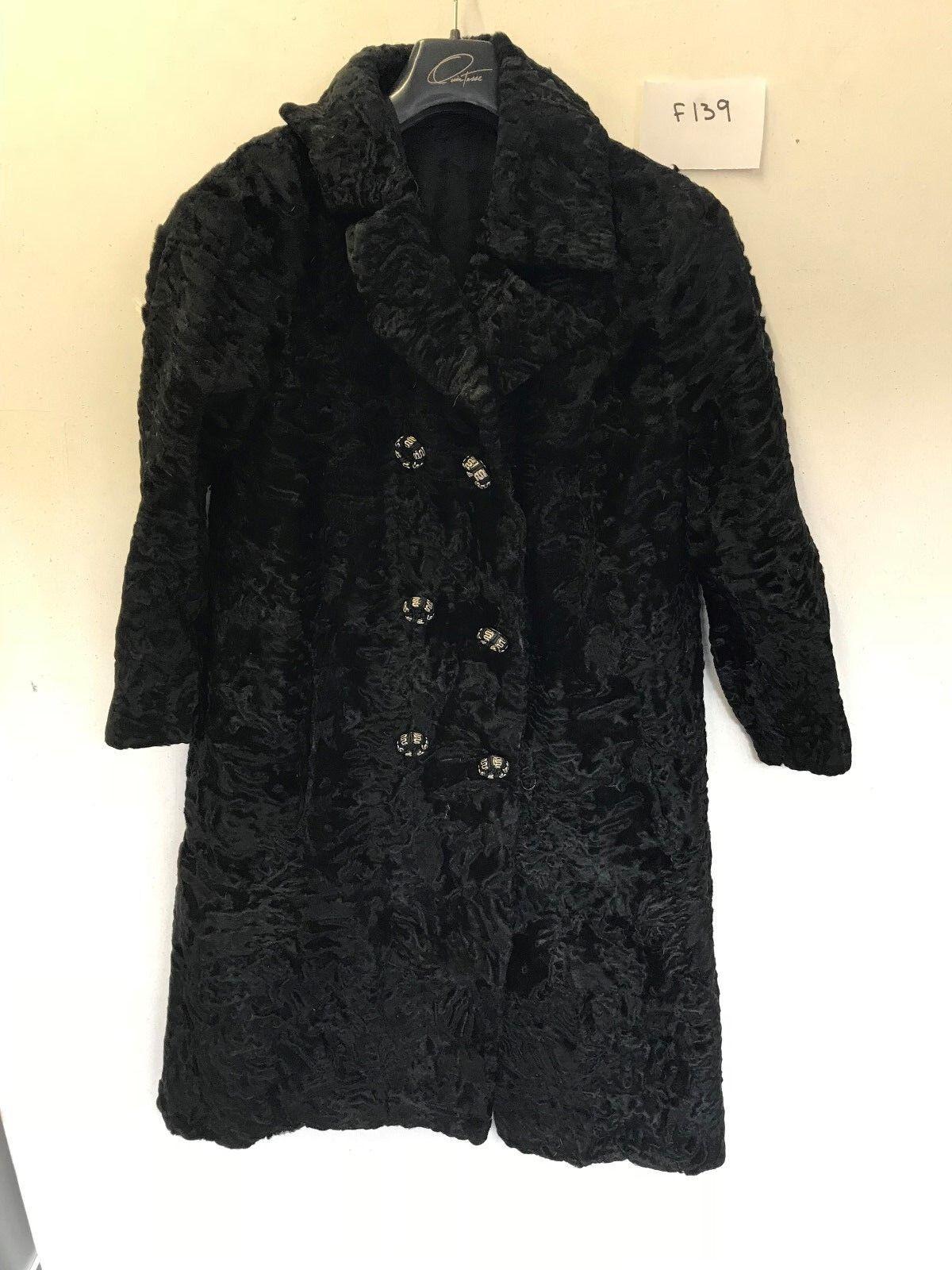 Vintage women Real Piel Abrigo black Axila   Axila 50.8cm Largo 102cm (F139)