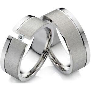 2 Partnerringe Eheringe aus Edelstahl mit Zirkonia Ring Gravur PG204