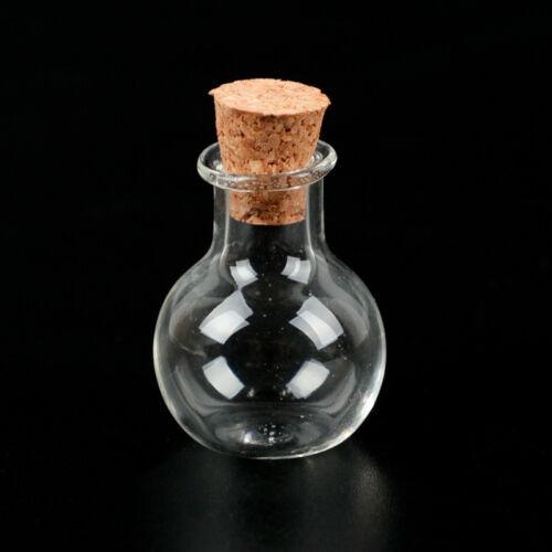 10//50Pcs Cork Empty Small Tiny Clear Message Glass Bottles Wishing Vials Pendant