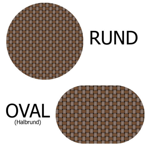 Toile Cirée Nappe Nappe robuste en rotin ronde ovale couleur /& taille au choix
