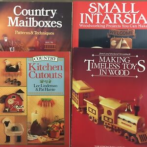 Lot-of-4-woodworking-books-Mailboxes-Kitchen-Cutouts-Timeless-Toys-Intarsia