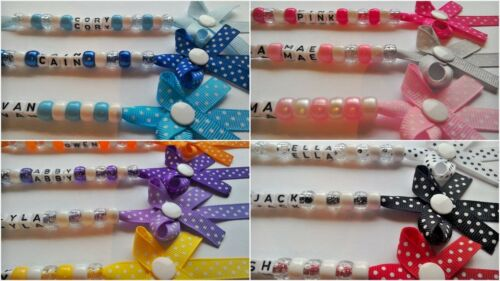 PERSONALISED DUMMY CLIPS AND BOW DUMMY CLIPS POLKA DOT RANGE