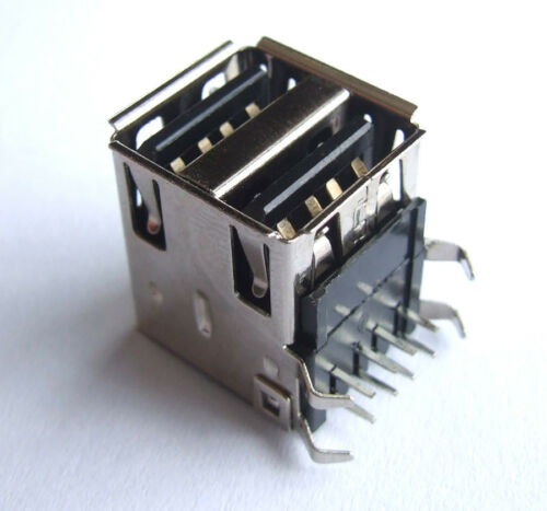 10PCS DOUBLE USB FEMALE SOCKET for PC PCB Board MOUNT Soldering Sockets