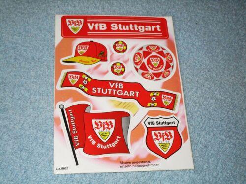 1 Blatt Aufkleber vom VfB Stuttgart  22cm x 16,5cm  Toppzustand!