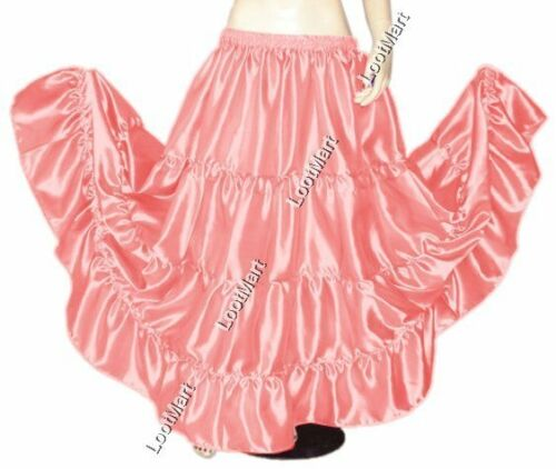 Belly Dance D Pink Satin 4 Tier Gypsy Skirt Costume Tribal Ruffle Jupe 27 Colors