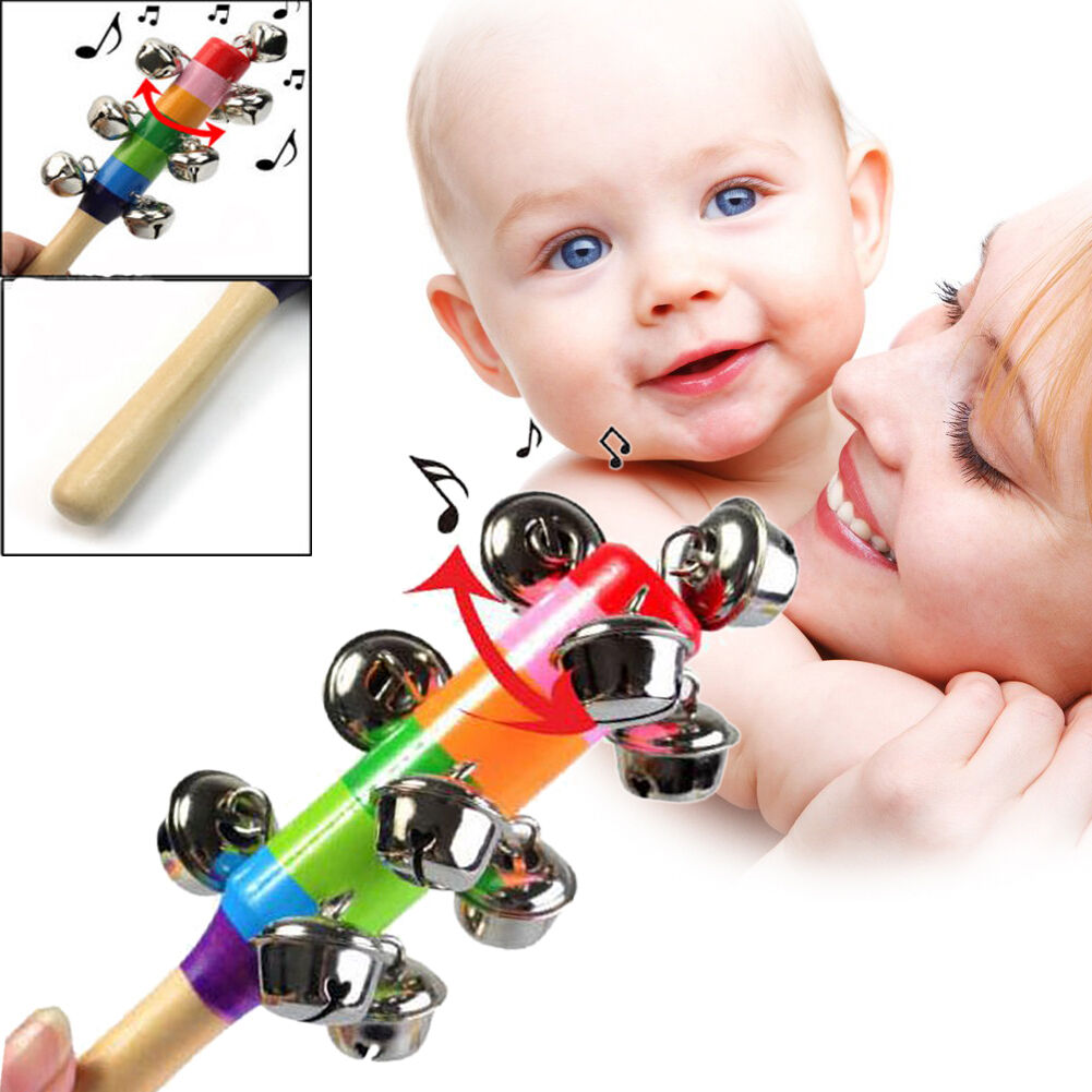 Baby Kids Rainbow Wooden Handle Bell Jingle Stick Shaker Rattle Toys S5dy 01 Baby Toys For Baby