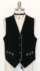 LEATHER-BLACK-Women-German-Hunting-Western-Ranch-Sport-Dress-Jacket-VEST-38-8-S