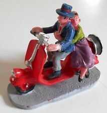 "LEMAX Village Collection Scooter Man Woman Figurine Christmas 2012 3"" HTF"