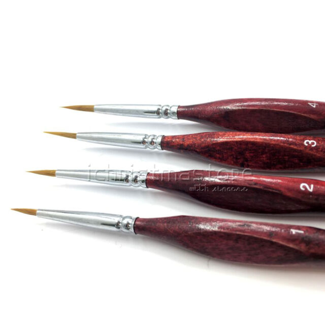New Miniature Paint Brush Set Professional Sable Hair Detail for Fine Detailing