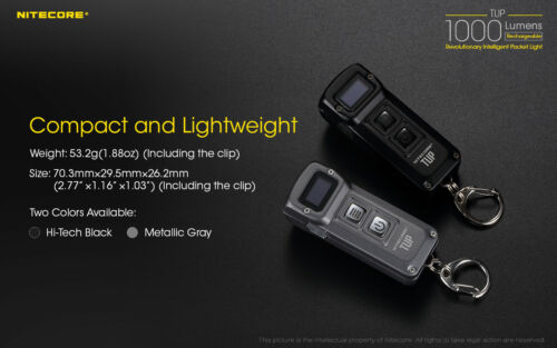 NITECORE TUP 1000 lm Black Rechargeable Everyday Carry Keychain Flashlight