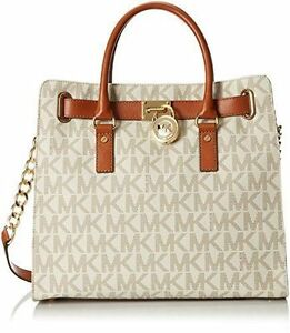 10a1a990cde8 Michael Kors Vanilla PVC Large Hamilton MK Signature Tote Bag for ...