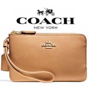 New Authentic Coach F87590 Pebble Leather Double Corner Zip Wallet Wristlet Pink
