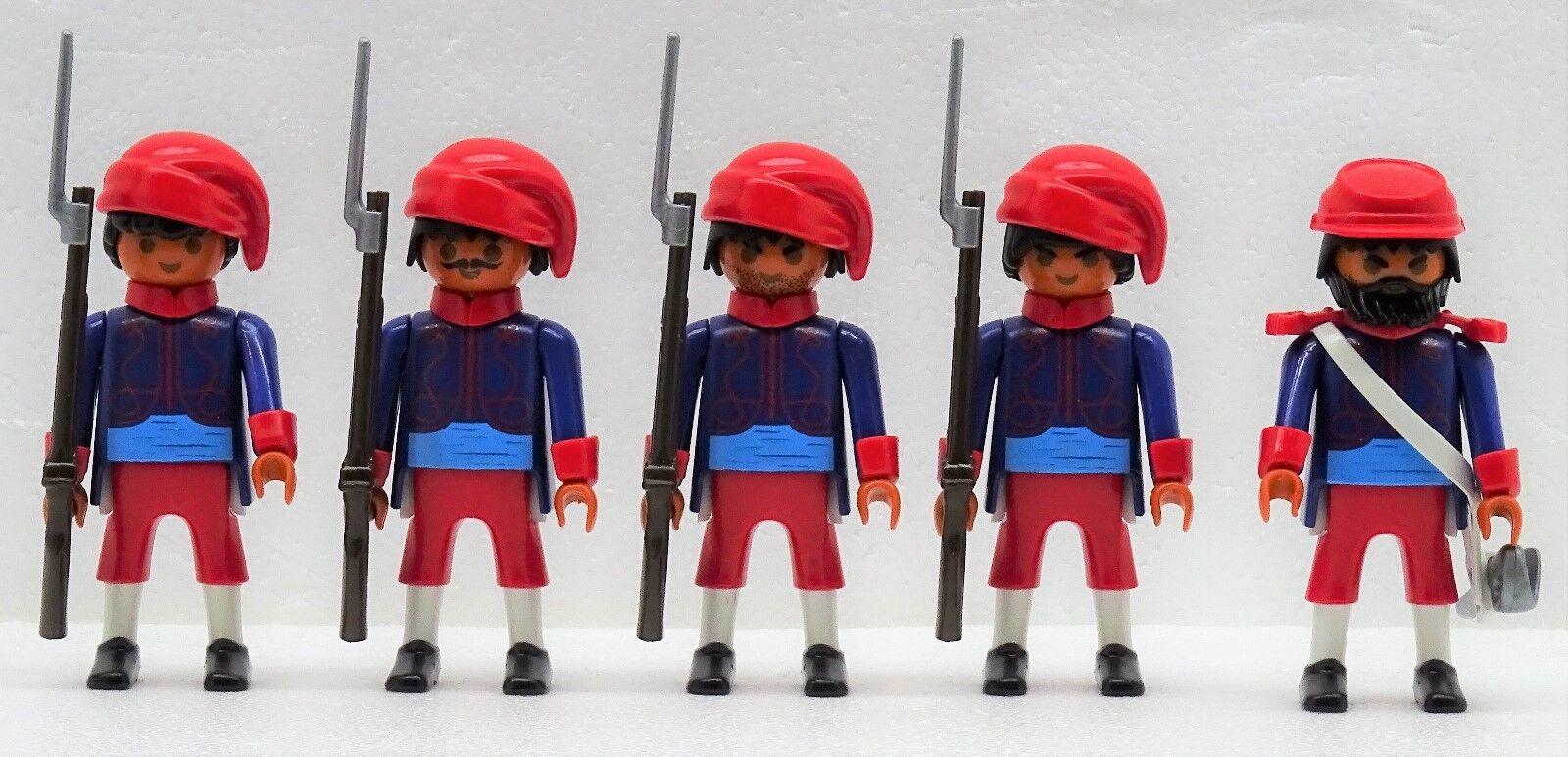 Zouave 4 SOLDATS SOLDATS SOLDATS + Officier C Playmobil citoyen du Nord contre sudistes ACW a0ef1c