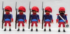 Zouave 4 Soldats Officier C Playmobil Citoyen Du Nord Contre Sudistes Acw