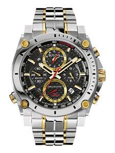 Bulova-Precisionist-Men-039-s-98B228-Chronograph-Black-Dial-Two-Tone-46-5mm-Watch