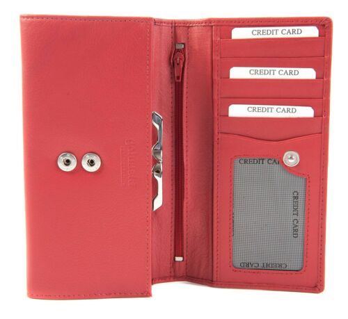 1-1137 Golunski Medium Donna Rosso o Nero Pelle Slim Clip Portamonete Wallet
