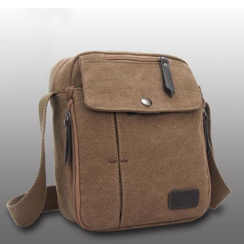 Men/'s Vintage Canvas Leather Satchel School Military Shoulder Bag Messenger Bags