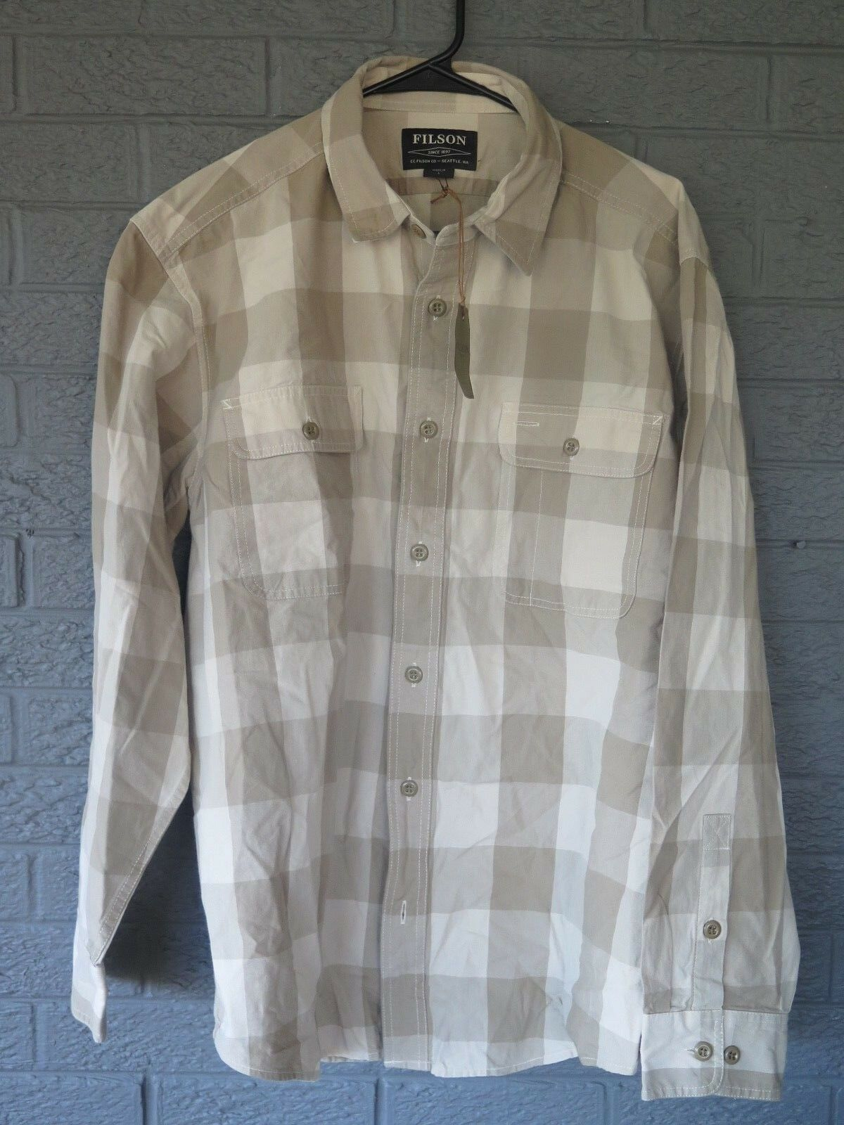NEW  MENS FILSON LIGHTWEIGHT KITSAP WORK SHIRT TAN KHAKI SIZE LARGE L  wholesale cheap